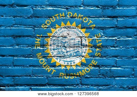 Flag Of South Dakota State, Painted On Brick Wall