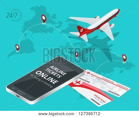 Airline tickets online. Buying or booking Airline tickets. Travel, business flights worldwide. Online app for tickets order. Internation  flights. Flat 3d isometric vector illustration
