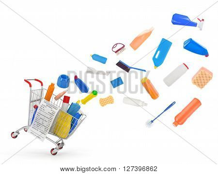Shopping carts with detergents and cleaning equipments