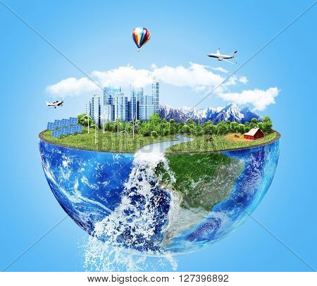 Eco concept. City of future. Solar energy town wind energy. Save the planet concept. Earth Day.
