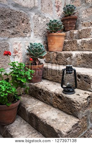 kerosene lamp and plant in a old staircase