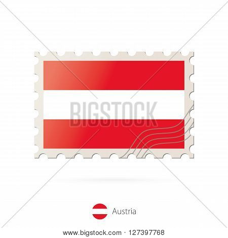 Postage Stamp With The Image Of Austria Flag.