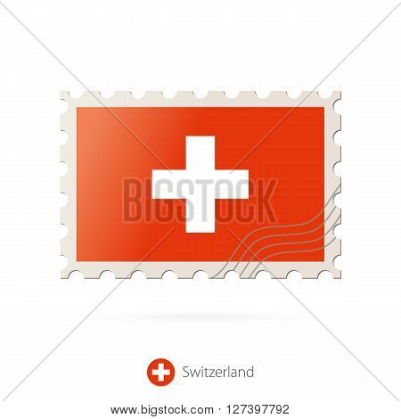 Postage Stamp With The Image Of Switzerland Flag.