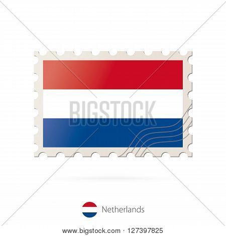 Postage Stamp With The Image Of Netherlands Flag.