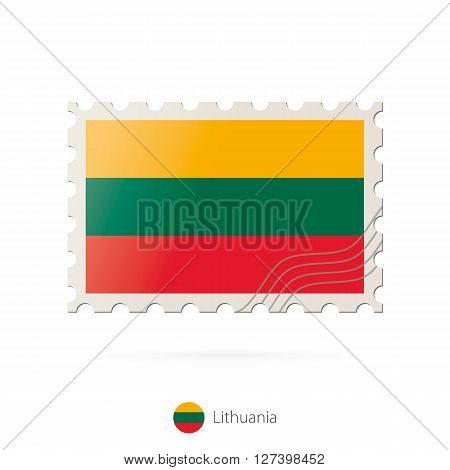 Postage Stamp With The Image Of Lithuania Flag.