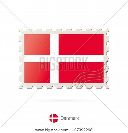 Postage Stamp With The Image Of Denmark Flag.