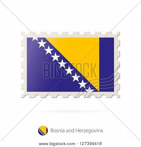 Postage Stamp With The Image Of Bosnia And Herzegovina Flag.