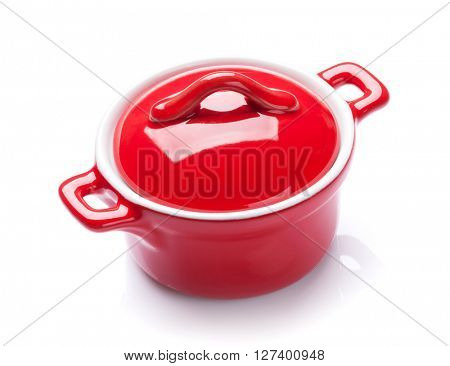 Red saucepan. Isolated on white background