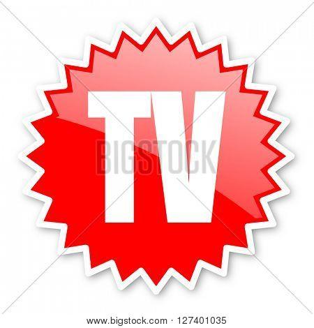 tv red tag, sticker, label, star, stamp, banner, advertising, badge, emblem, web icon