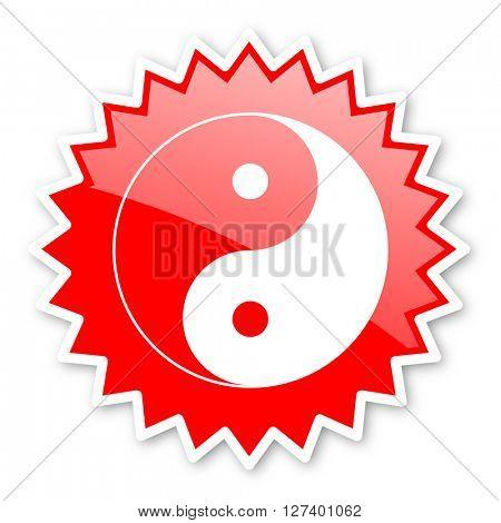 ying yang red tag, sticker, label, star, stamp, banner, advertising, badge, emblem, web icon