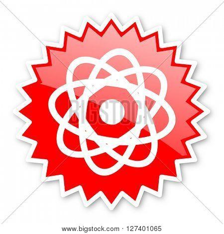 atom red tag, sticker, label, star, stamp, banner, advertising, badge, emblem, web icon