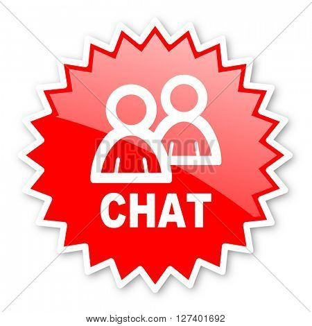 chat red tag, sticker, label, star, stamp, banner, advertising, badge, emblem, web icon