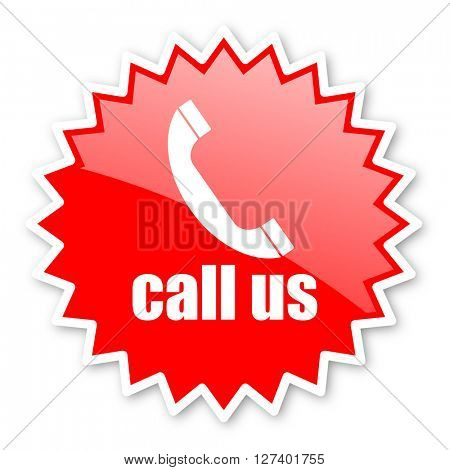 call us red tag, sticker, label, star, stamp, banner, advertising, badge, emblem, web icon