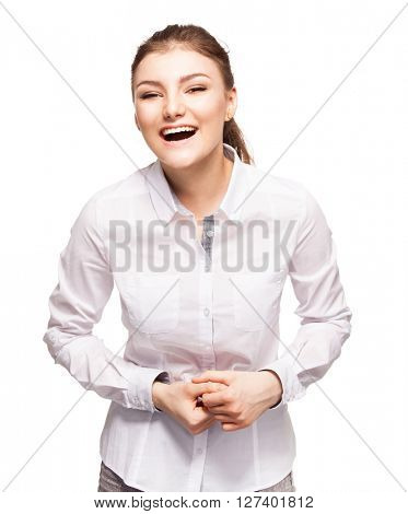 Woman at white background. Young laughing female isolated