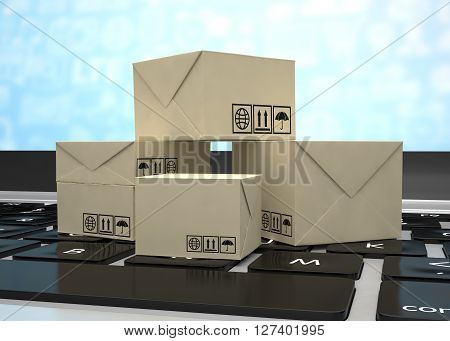 Technology business concept, shipping: cardboard package boxes on laptop. 3d rendering.