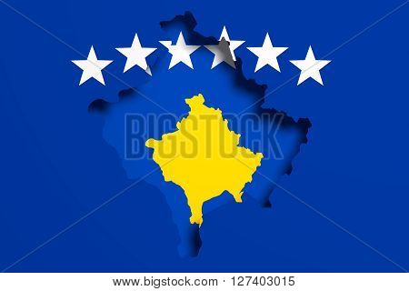 Silhouette Of Kosovo Map With Flag