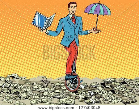 business concept money computer protection pop art retro style. Businessman balancing on unicycle