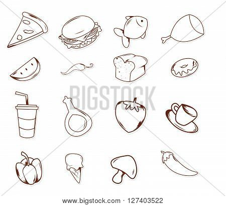 Food And drink Object Hand Drawn Sketch Doodle .eps10 editable vector illustration design
