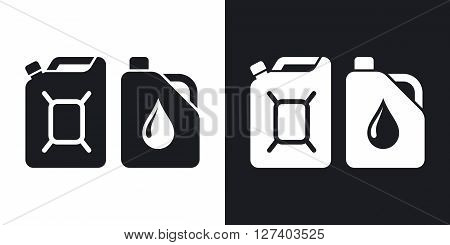 Canisters with fuel and oil vector icon. Two-tone version on black and white background