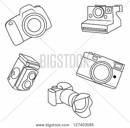 Camera object Collection Hand Drawn Sketch Doodle .eps10 editable vector illustration design