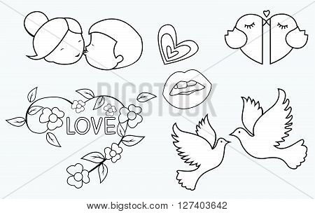 Love Symbol Object Collection Hand Drawn Sketch Doodle .eps10 editable vector illustration design