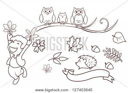 Autumn Season Object Collection Hand Drawn Sketch Doodle .eps10 editable vector illustration design