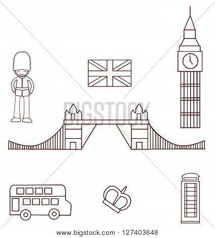 England Tourism Object Collection Hand Drawn Sketch Doodle .eps10 editable vector illustration design