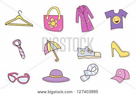 Fashion Shopping Hand Drawn Sketch Doodle .Eps 10 editable vector Illustration design