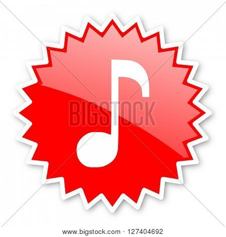 music red tag, sticker, label, star, stamp, banner, advertising, badge, emblem, web icon