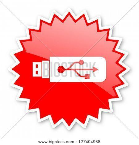 usb red tag, sticker, label, star, stamp, banner, advertising, badge, emblem, web icon