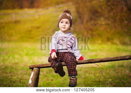 A Little Boy Is Sitting Under A Tree.