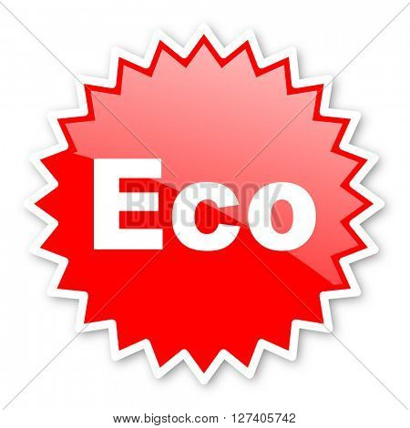 eco red tag, sticker, label, star, stamp, banner, advertising, badge, emblem, web icon