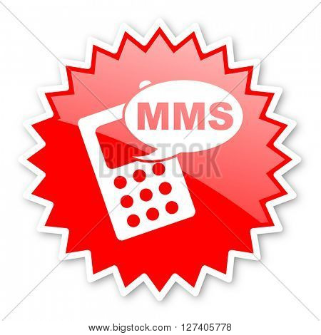 mms red tag, sticker, label, star, stamp, banner, advertising, badge, emblem, web icon
