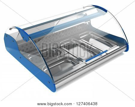 refrigerated display case with curved glass for shops and supermarkets isolated on a white background 3d