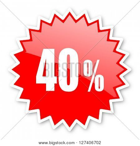 40 percent red tag, sticker, label, star, stamp, banner, advertising, badge, emblem, web icon