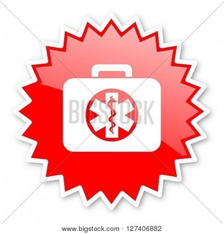 rescue kit red tag, sticker, label, star, stamp, banner, advertising, badge, emblem, web icon