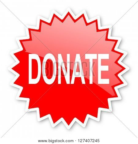 donate red tag, sticker, label, star, stamp, banner, advertising, badge, emblem, web icon