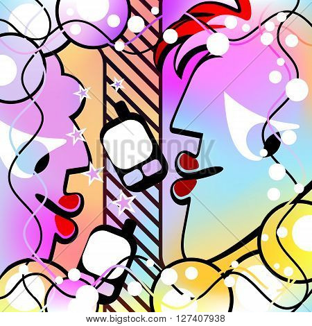 Abstract people speak by phone. Surreal composition. Motley Version. Mesh Gradient and Transparency was Used. EPS-10.