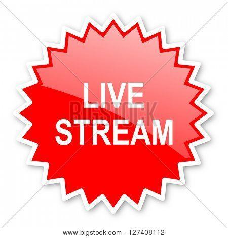 live stream red tag, sticker, label, star, stamp, banner, advertising, badge, emblem, web icon