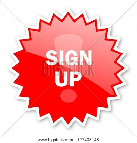 sign up red tag, sticker, label, star, stamp, banner, advertising, badge, emblem, web icon