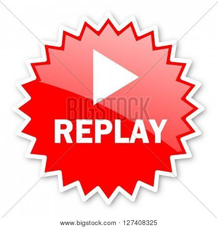replay red tag, sticker, label, star, stamp, banner, advertising, badge, emblem, web icon