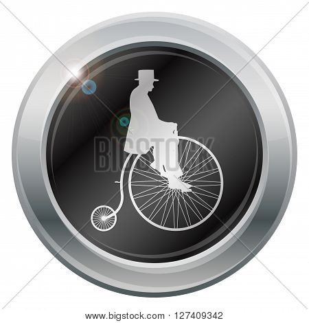 A gentleman on a penny farthing silver icon isolated on a white background