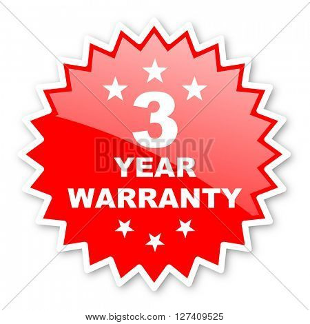 warranty guarantee 3 year red tag, sticker, label, star, stamp, banner, advertising, badge, emblem, web icon