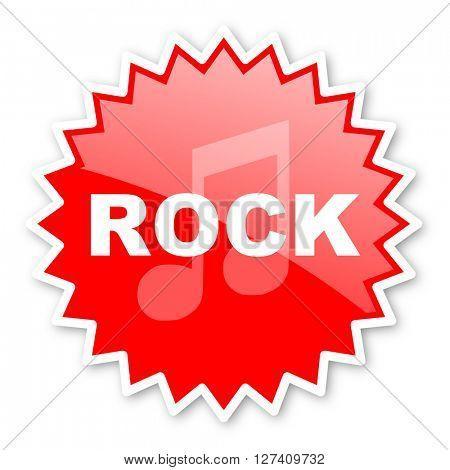 rock music red tag, sticker, label, star, stamp, banner, advertising, badge, emblem, web icon