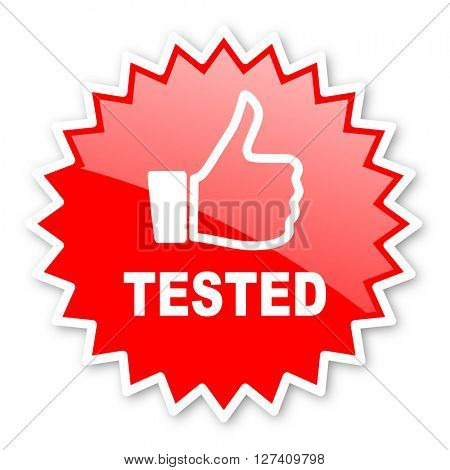 tested red tag, sticker, label, star, stamp, banner, advertising, badge, emblem, web icon