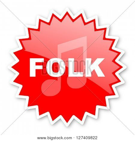 folk music red tag, sticker, label, star, stamp, banner, advertising, badge, emblem, web icon