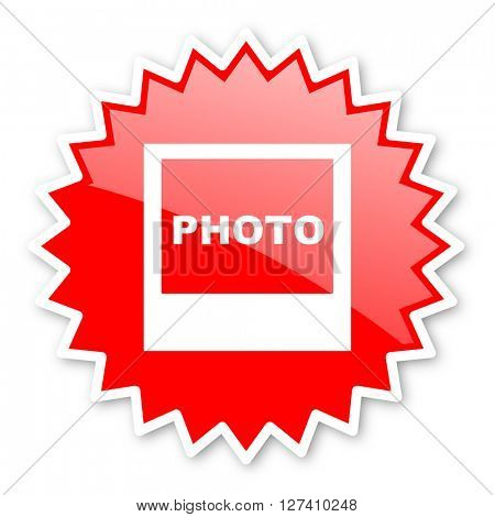photo red tag, sticker, label, star, stamp, banner, advertising, badge, emblem, web icon