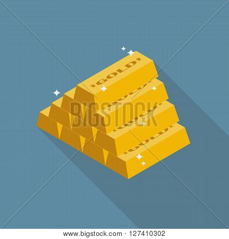 Gold ingots flat icon with long shadow