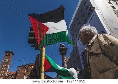 Palestinian Flag At The Liberation Day Parade 2016 In Milan, Italy
