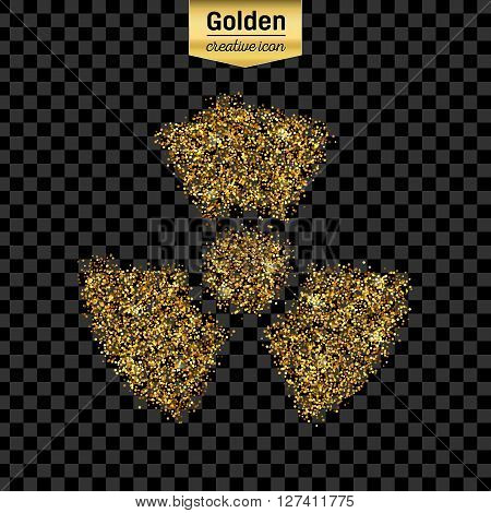 Gold glitter vector icon of radioactively isolated on background. Art creative concept illustration for web,